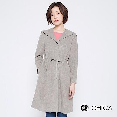 CHICA 優雅英格麗抽繩縮腰連帽大衣(2色)