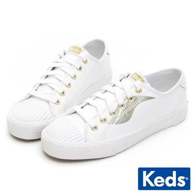 Keds CREW KICK 金Logo皮革綁帶休閒鞋-白