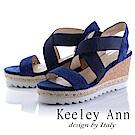 Keeley Ann 休閒假期~交叉設計真皮楔型涼鞋(藍色-Ann)