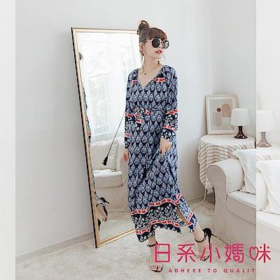 日系小媽咪孕婦裝-孕婦裝 初秋微涼菱格花紋領造型抽繩洋裝 附綁帶