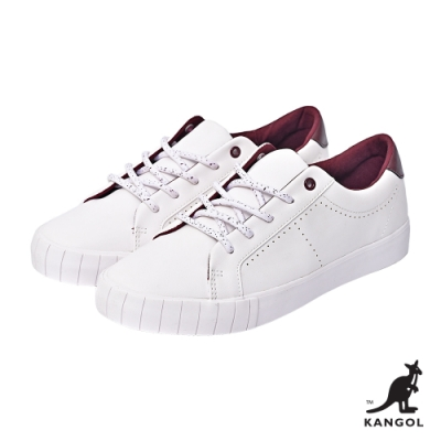【KANGOL】經典皮革休閒鞋-女-白