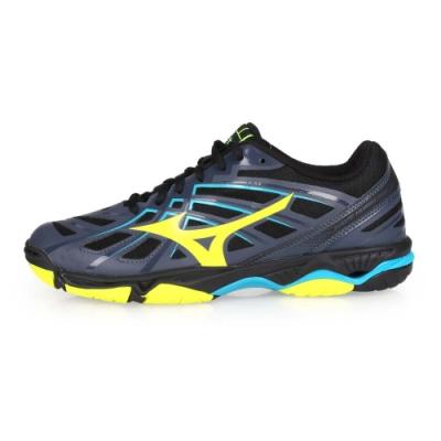 MIZUNO 男女 男款排球鞋 WAVE HURRICANE 3 藍灰芥末綠