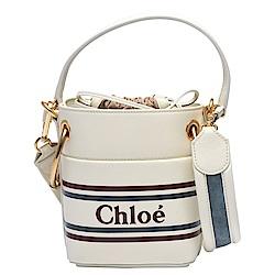 CHLOE ROY系列牛皮拼接帆布束口手提/斜背水桶包(迷你-米白)
