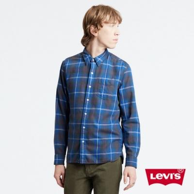 Levis 男款 法蘭絨襯衫 / 復古藍格紋 / Thermolite保暖科技