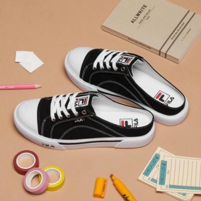 FILA COMO MULE 中性復古帆布鞋-黑 4-C623T-001