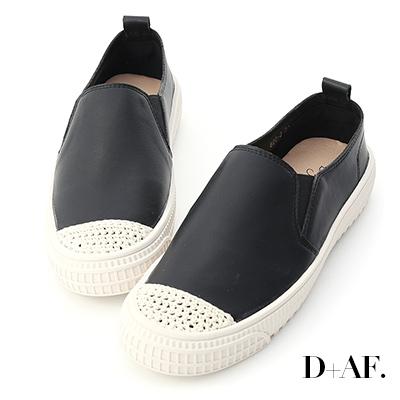 D+AF 隨性漫步.針織鞋頭平底懶人鞋*黑