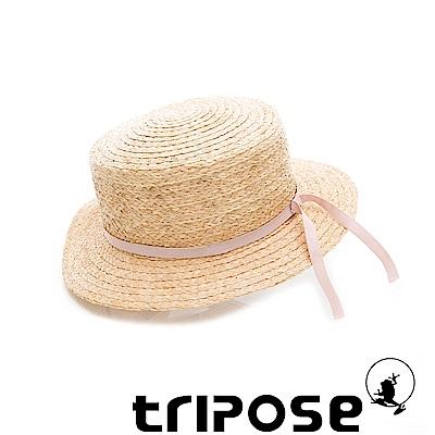 tripose 甜美簡約-100% Raffia入門款平頂細飾帶草帽(飾帶-粉紅)