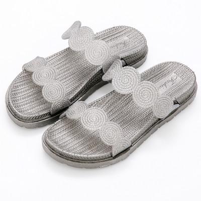 River&Moon防水鞋-幾何寬版雙線條Q軟厚底涼拖鞋-灰銀