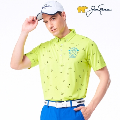 【Jack Nicklaus】金熊GOLF男款果嶺印花彈性吸濕排汗POLO衫-綠色