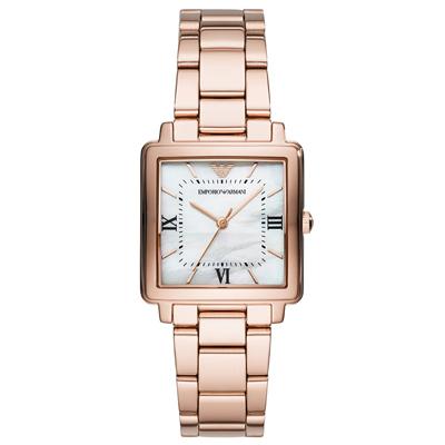 Emporio Armani 閃耀珍珠貝時尚手錶(AR11177)-玫瑰金/30mm