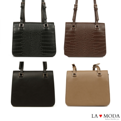 La Moda 時尚設計感倍增質感面料肩背斜背方包(四色)