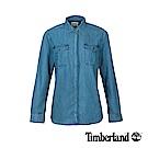 Timberland 女款淺藍雙口袋牛仔修身長袖襯衫|A1M95