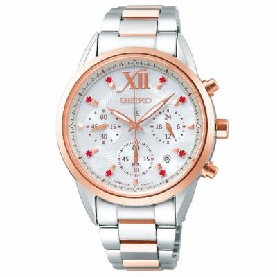 SEIKO精工 LUKIA太陽能晶鑽三眼計時手錶SSC824J1-半金/36mm
