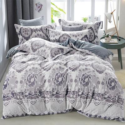 羽織美 宮廷玫瑰 雕花水晶絨加大鋪棉床包被套組