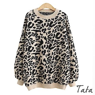 豹紋燈籠袖針織上衣 共二色 TATA