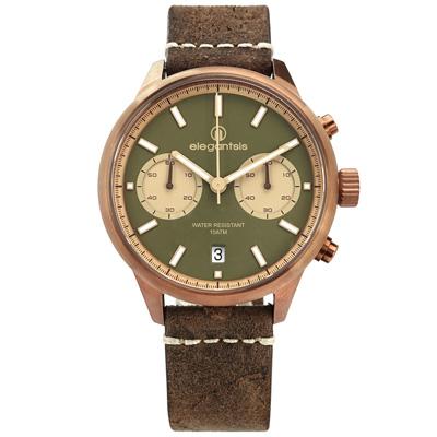 elegantsis 計時日期防水100米 真皮手錶 墨綠x古銅金框x褐/43mm