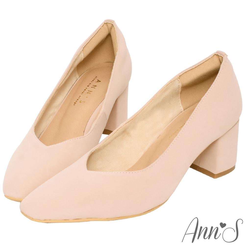 Ann'S天堂版型-顯瘦V口霧面純色粗跟方頭跟鞋-粉