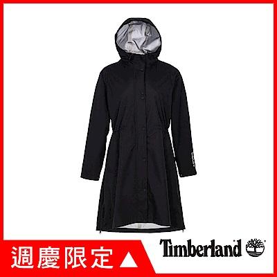 Timberland 女款黑色連帽防水長版派克外套|B3806