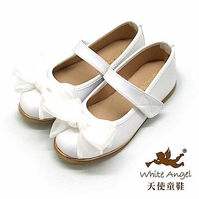 天使童鞋 韓式緞帶蝴蝶結公主鞋 J941-白