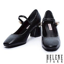 高跟鞋 HELENE SPARK 奢華珍珠復古方頭瑪麗珍高跟鞋-黑