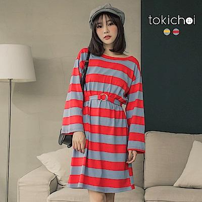 東京著衣 大愛俏皮附綁帶條紋洋裝(共二色)