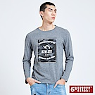 5th STREET 潮流網點LOGO長袖T恤-男-麻灰色