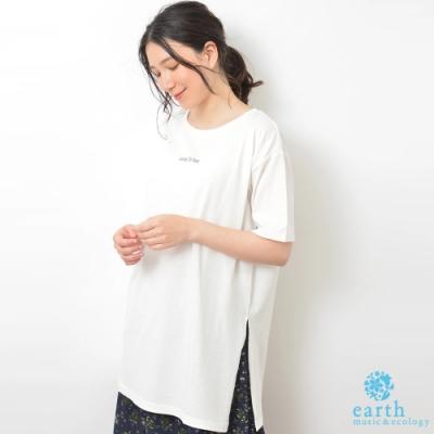 earth music 迷你標語打印有機棉長版落肩T恤