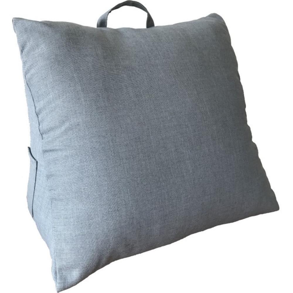 【宜欣居傢飾】仿麻三角大靠墊*灰藍-多功能紓壓美腿/床頭靠枕/腰靠枕/抬腿枕/台灣製MIT