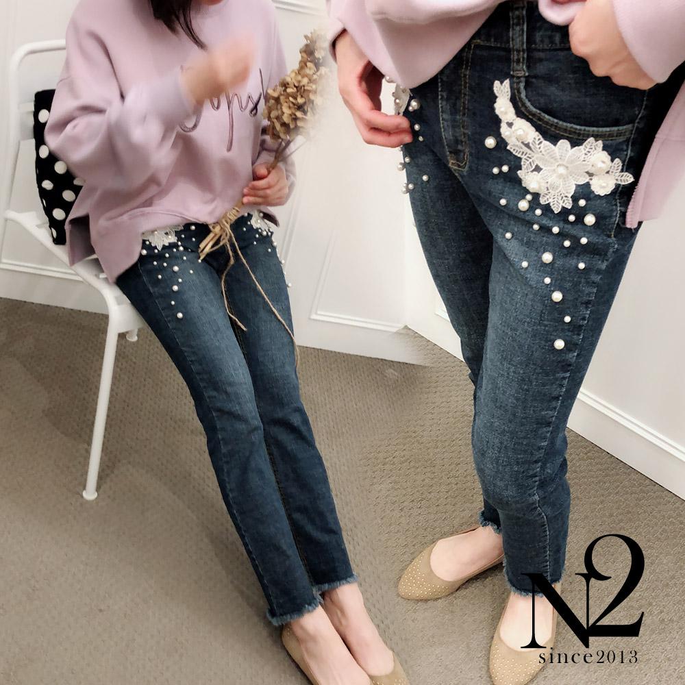 褲子 正韓蕾絲花朵珍珠鑲飾牛仔褲(圖片色) N2