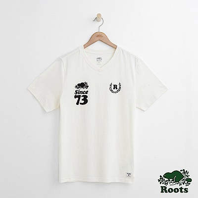 Roots 男裝-  周年系列 73短袖T恤-白