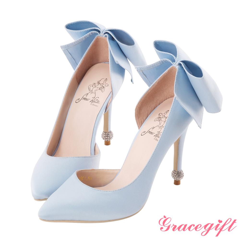 Disney collection by grace gift立體蝴蝶結圓鑽跟鞋 淺藍