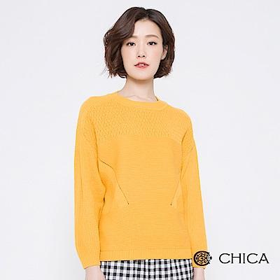 CHICA 美好片刻變化織紋圓領針織衫(2色)
