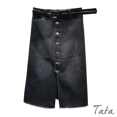 排扣開叉不收邊牛仔裙 TATA-(S~L)