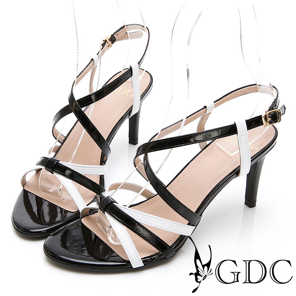 GDC-真皮日系甜美春配色交叉蝴蝶結涼鞋-黑色