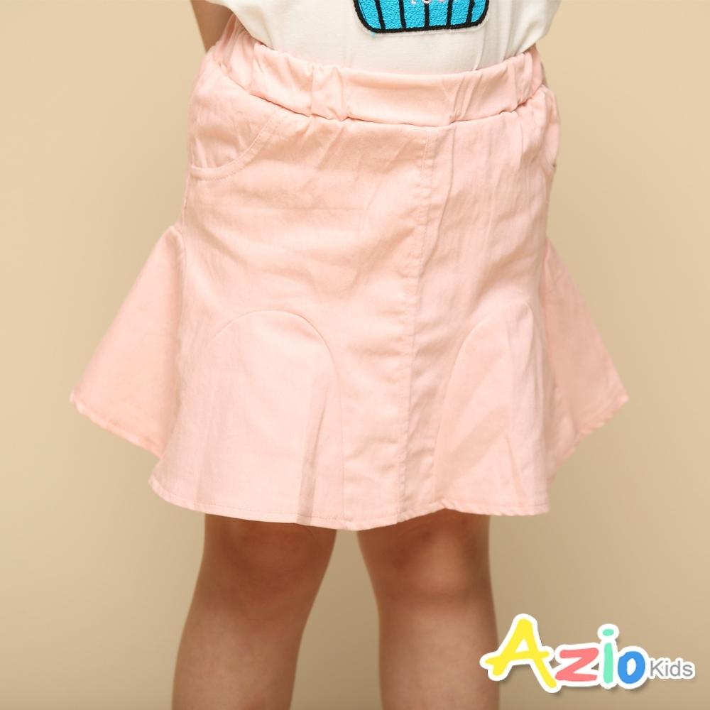 Azio 女童 短裙 下擺造型純色魚尾彈性短裙附內搭褲(粉)