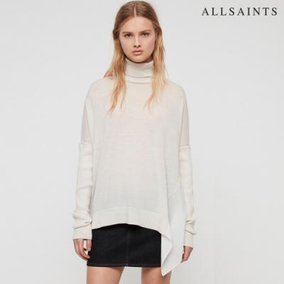 ALLSAINTS ALDA ROLL 純羊毛高領不對稱垂墜針織毛衣