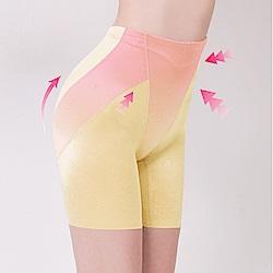 高腰無痕透氣緹花M-2XL三分塑褲 初暮黃 可蘭霓Clany