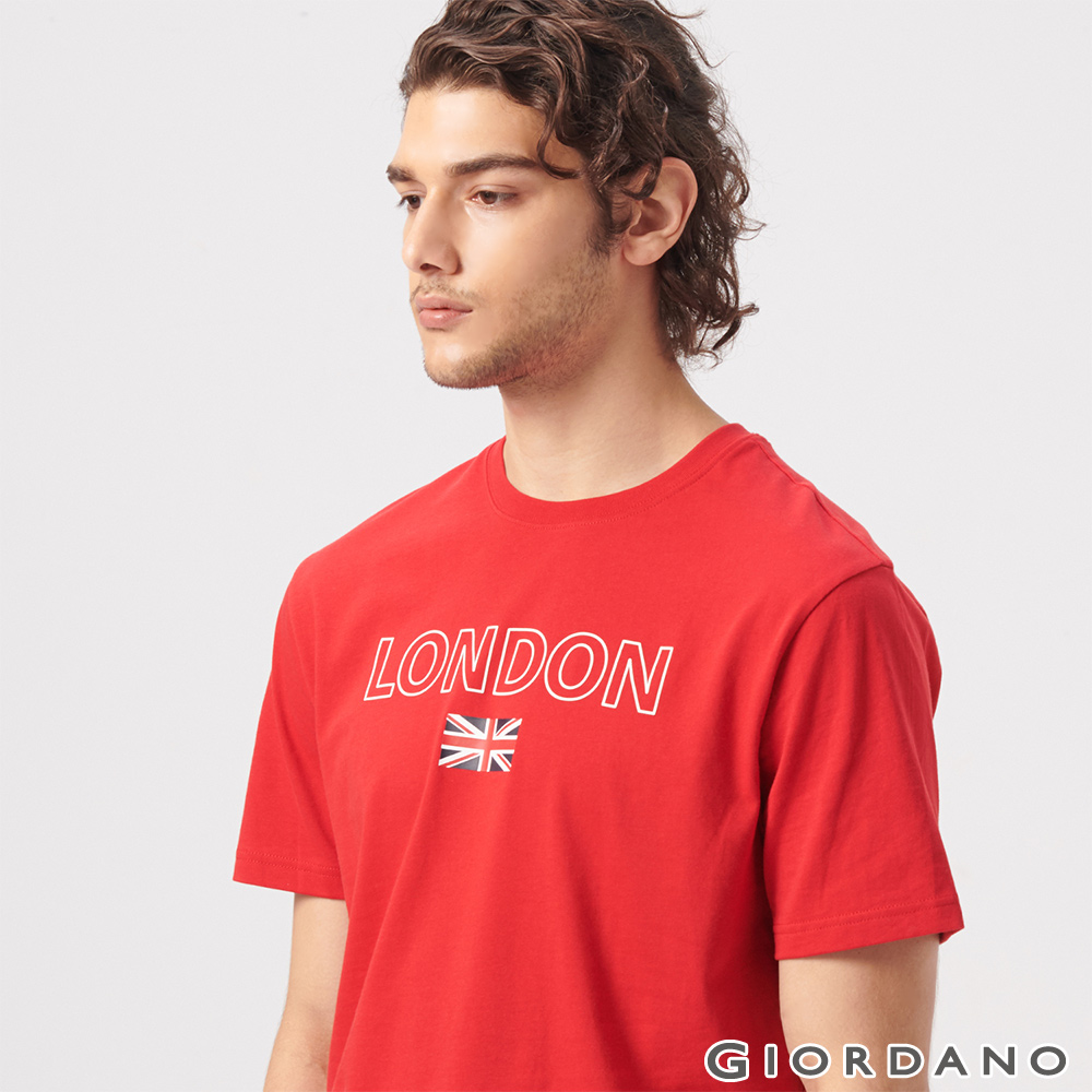 GIORDANO 男裝UNION JACK系列短袖T恤-09 高貴紅