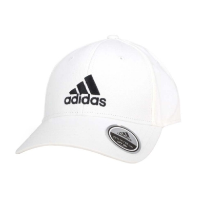 ADIDAS 運動帽-純棉 遮陽 防曬 鴨舌帽 帽子 愛迪達 基本款 棒球帽 FK0890 白黑