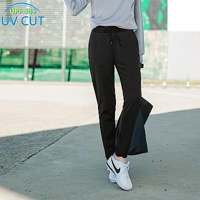 台灣製造~腰鬆緊抗UV保暖磨毛縮口運動長褲-OB大尺碼