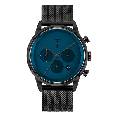 TYLOR 急速潮流三眼腕錶-黑X深藍(TLAC011)/43mm