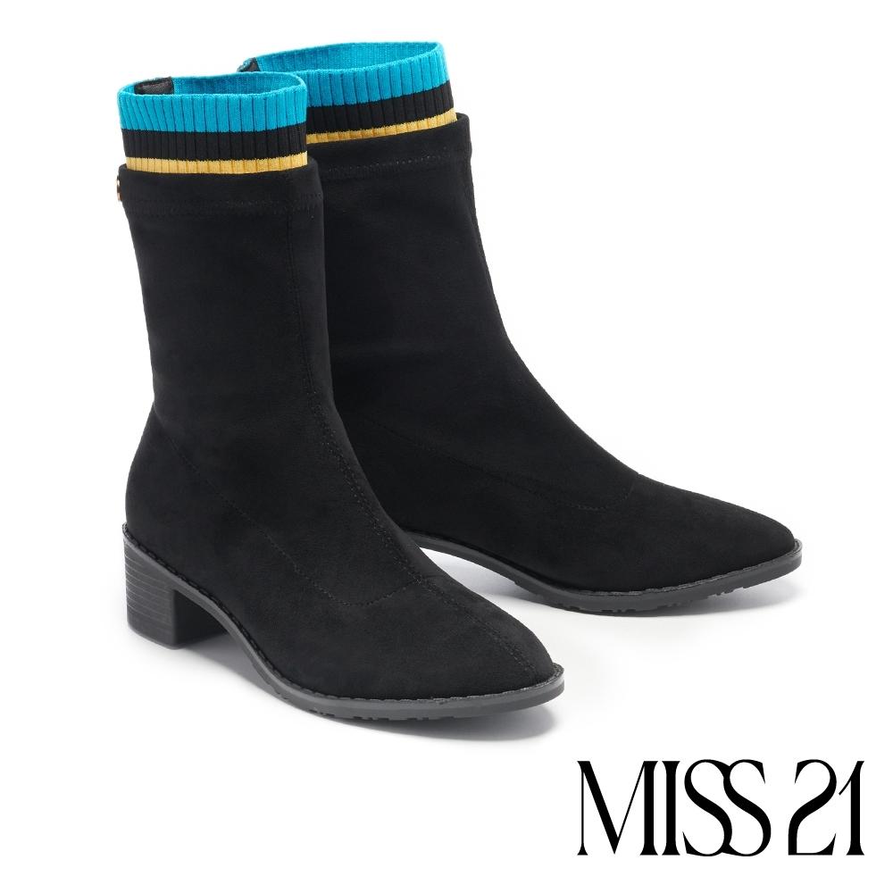 短靴 MISS 21 率性跳色線條異材質彈力拼接粗高跟短靴-黑