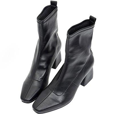 AIR SPACE 木紋粗跟尖頭皮革中筒靴(黑)