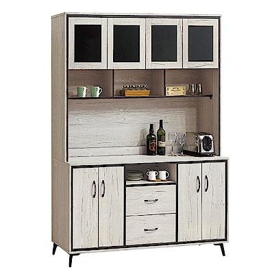 綠活居 波亞時尚5.3尺木紋餐櫃/收納櫃組合(上+下座)-160x40x200cm-免組
