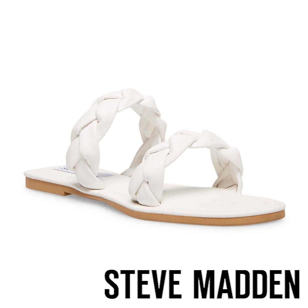 STEVE MADDEN-ALONNA 麻花編雙帶涼拖鞋-白色