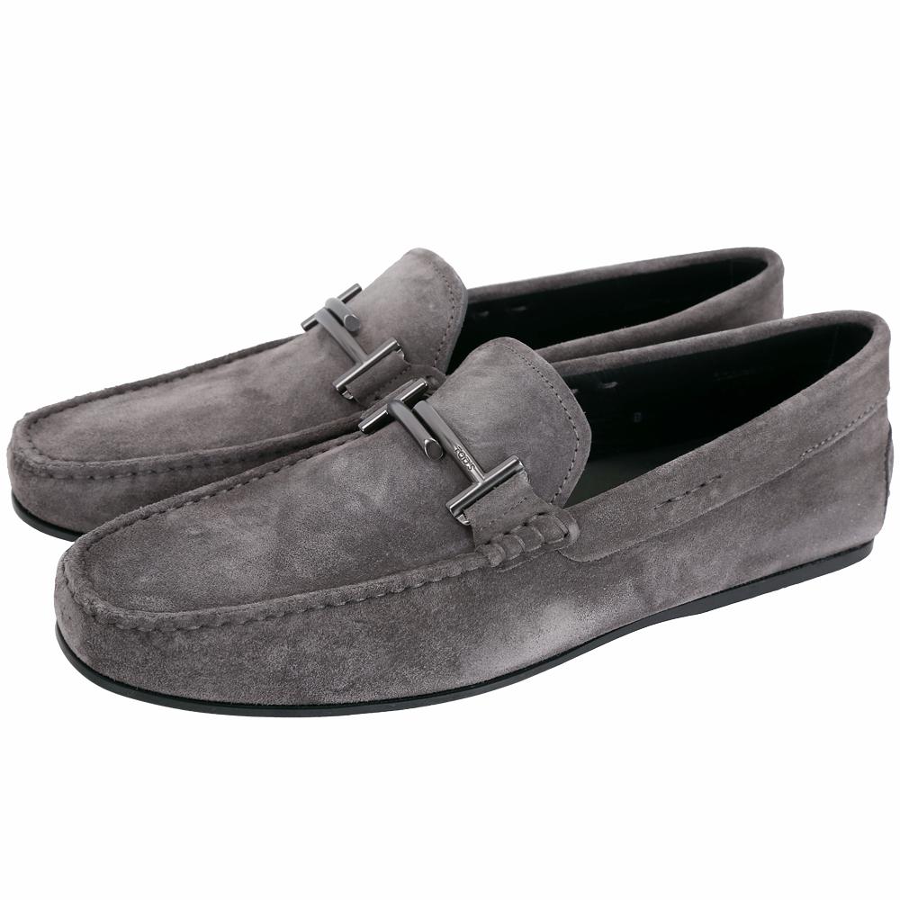 TOD'S City Gommino 雙T金屬飾麂皮豆豆休閒鞋(男鞋/深灰色)