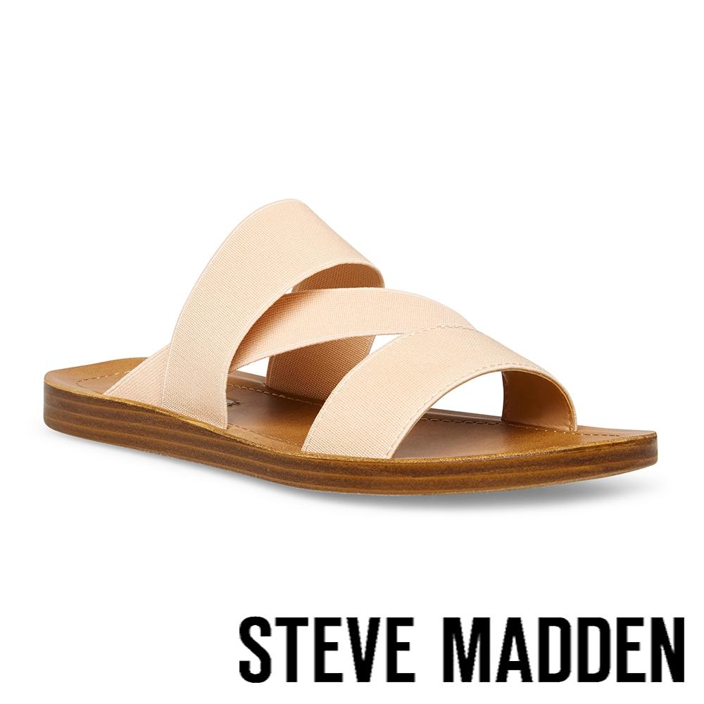 STEVE MADDEN-REEF 交叉彈性帶涼拖鞋-米杏色