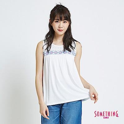 SOMETHING 蕾絲圖騰圓領背心-女-白色