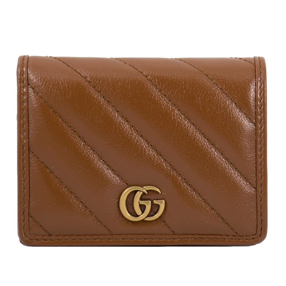 [限量包裝]GUCCI GG Marmont 馬夢絎縫牛皮復古金屬短夾/零錢包 (棕色) 466492