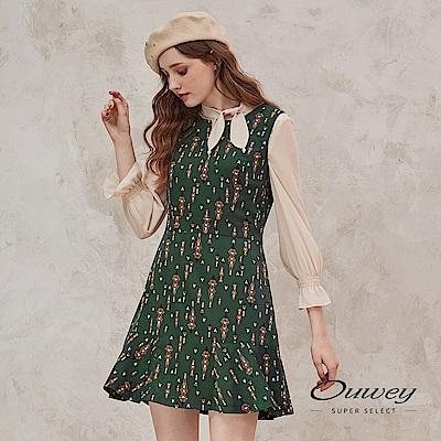 OUWEY歐薇 民俗風塗鴉V領背心洋裝(綠)